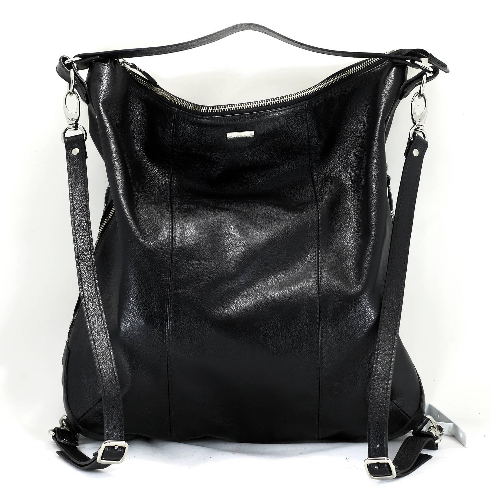 BOLSA - MOCHILA Bolsa mochila couro legítimo preta