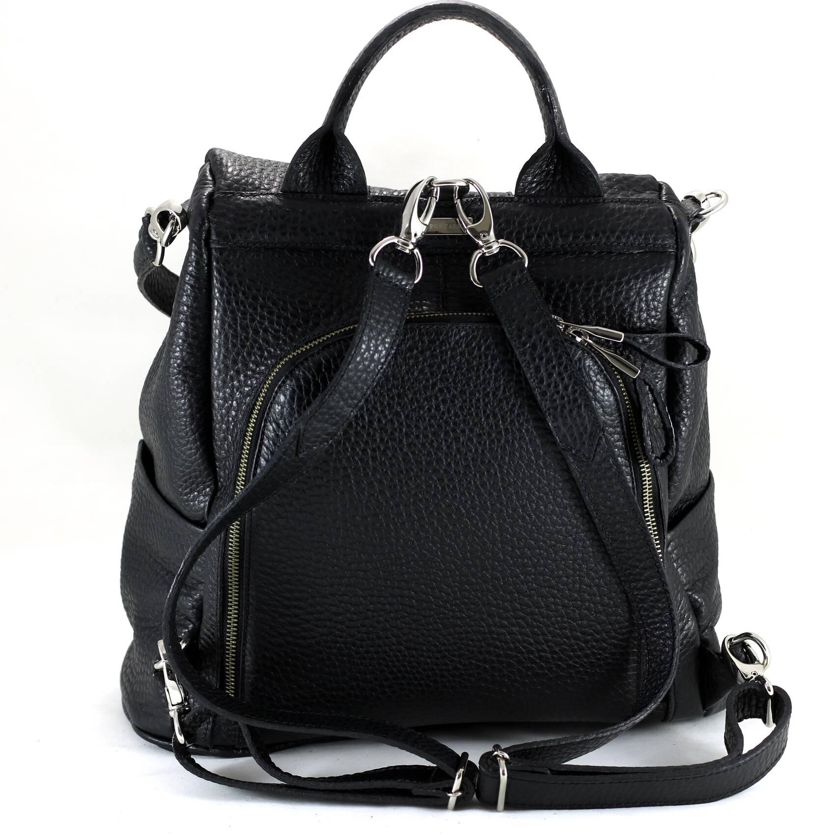 MOCHILA MILÃO Bolsa mochila preta em couro legítimo