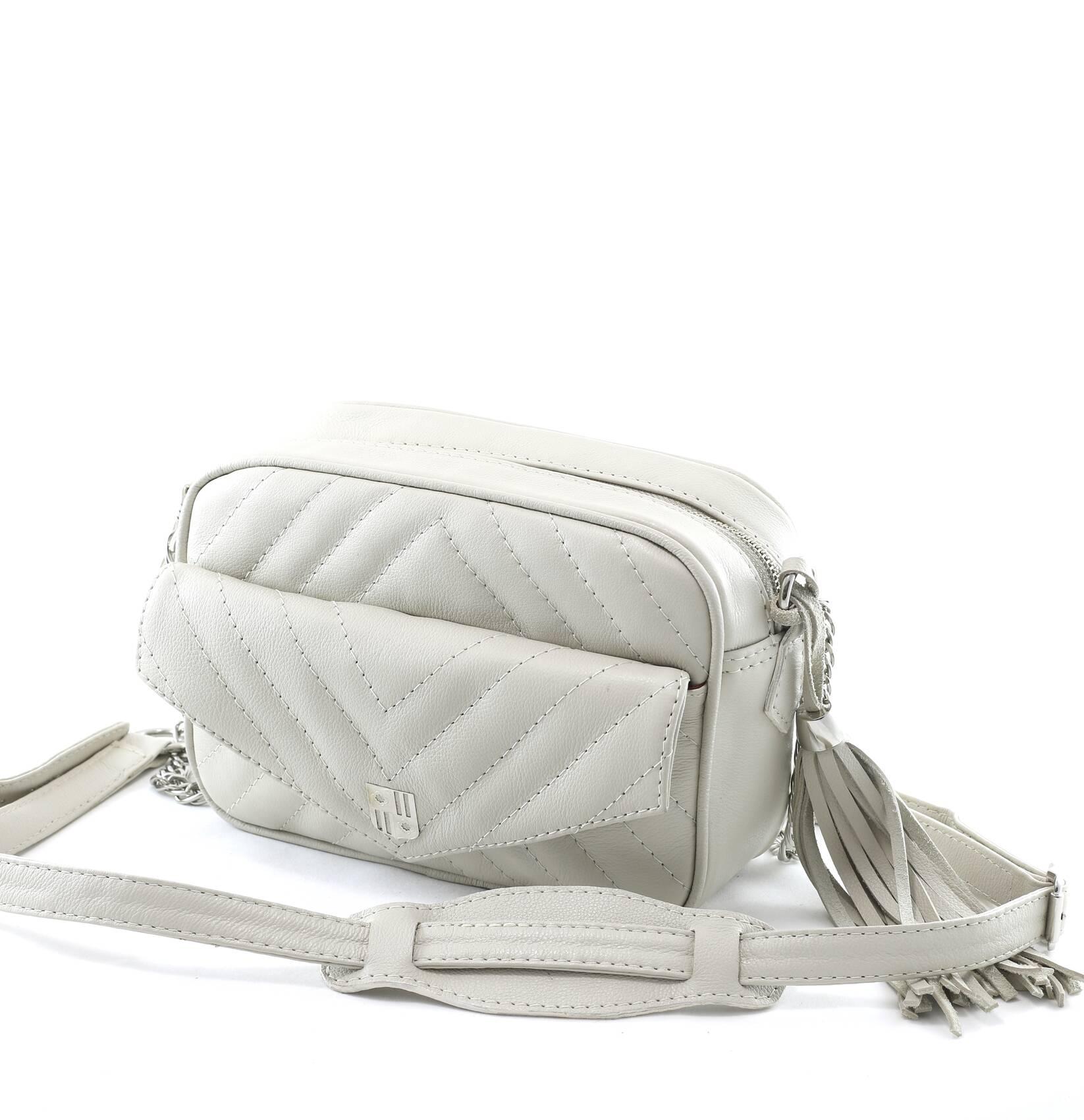 MADRID P Bolsa pequena a tiracolo couro legítimo branca / off-white