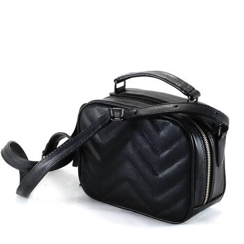 SANTORINI Bolsa quadradinha básica couro legítimo preta