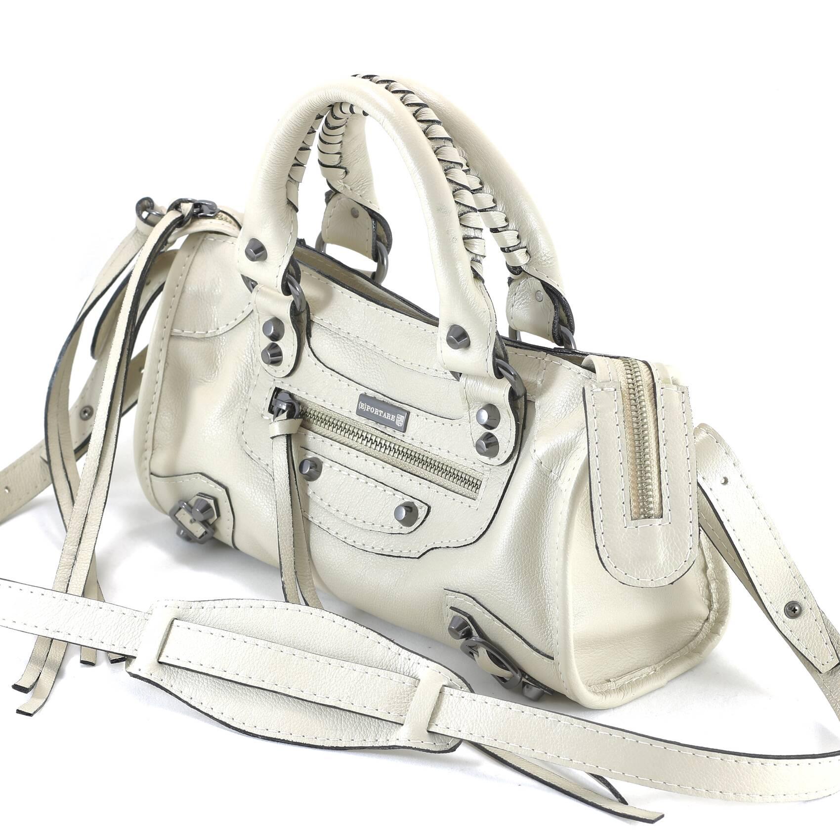 MINI BARCELONA Bolsa de couro off white