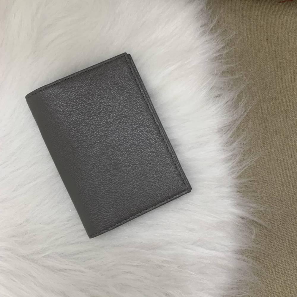 Porta-passaporte duplo cinza