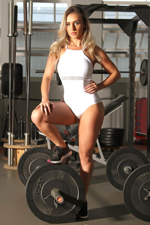 8d13520b13 Comprar Body Fitness de Poliamida com Telinha - Faixa e Tela Branco ...