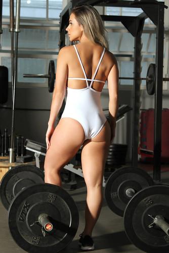 Body Fitness de Poliamida com Telinha - Faixa e Tela Branco