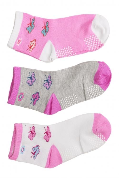 Meia Infantil Desenhos Sortidos Pacote c/ 3 Pares - Meninas