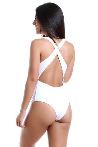 Body Fitness de Poliamida com Costas Cruzada - Tule e Cirré Branco