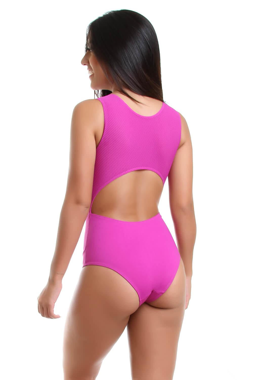 Body Maiô de Poliamida com Tela Decote nas Costas - Ariele Rosa