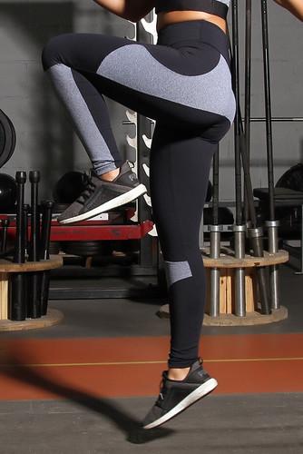 Calça Legging de Poliamida Mescla Recortes - Bicolor Mescla