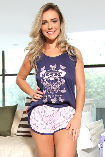 Pijama de Malha Estampa Cachorrinho - Baby Doll Adulto