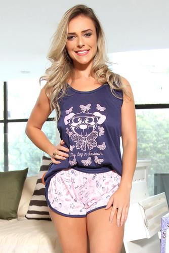Pijama de Malha Estampa Cachorrinho - Adulto