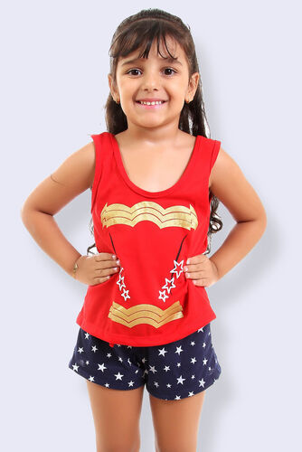 Pijama de Malha Tradicional Estampa - Mulher Maravilha Infantil