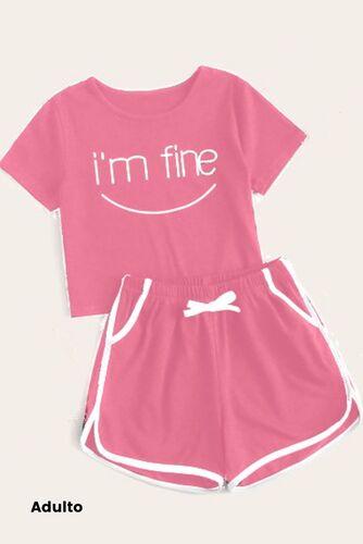 Pijama de Malha Manga Curta e Short - I'm Fine Adulto