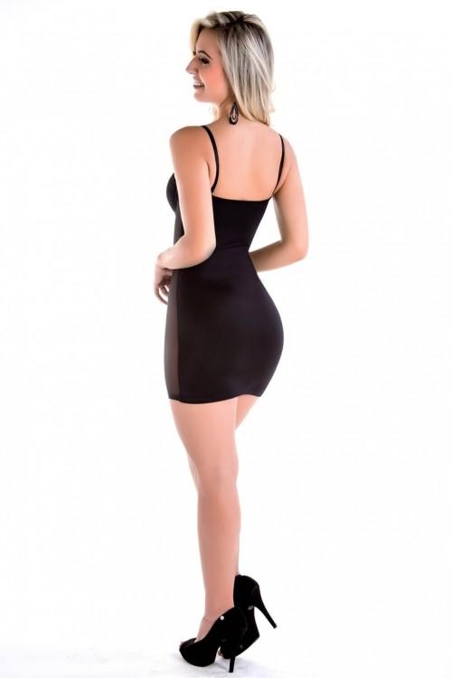 Vestido Compressão de Cetinete com Detalhe Frontal de Tully Reforçado