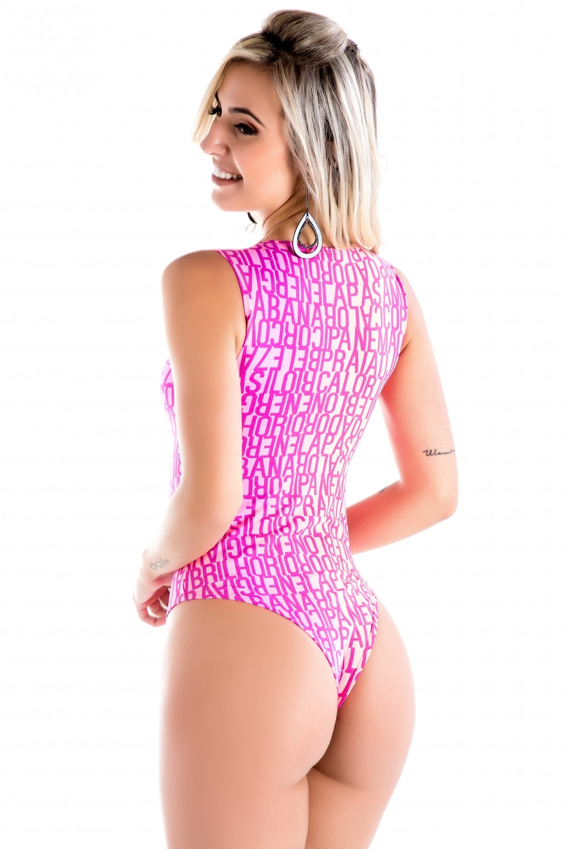Body Regata Pricila de Microfibra Estampada sem Bojo