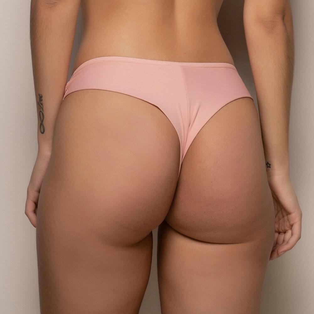 Calcinha Com Fio-Duplo e Renda Frontal Rosa