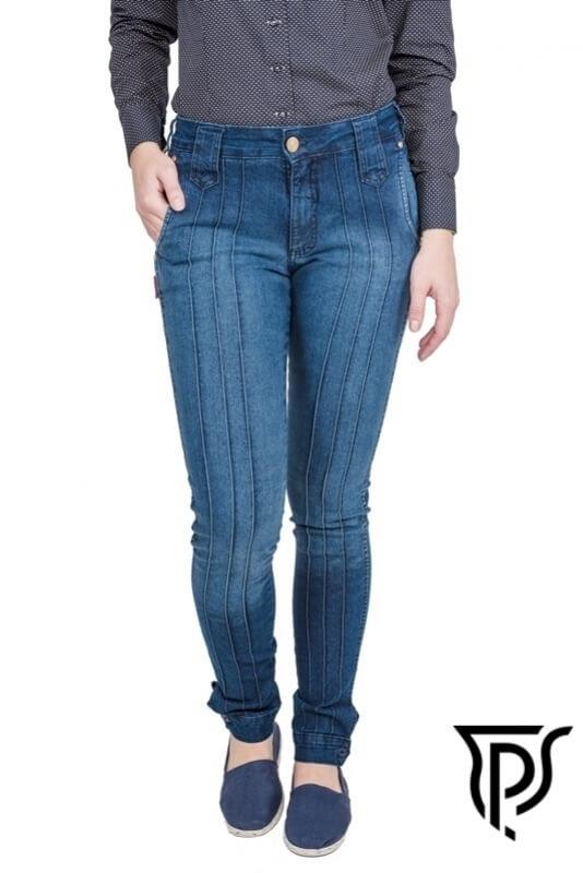 25733 - Bombacha Feminina Jeans Ginete - Tecido 83% algodão, 15% poliéster e 2% elastano.