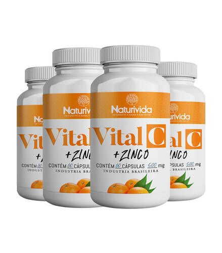 Kit 4 Vital C - Vitamina C + Zinco - 500mg