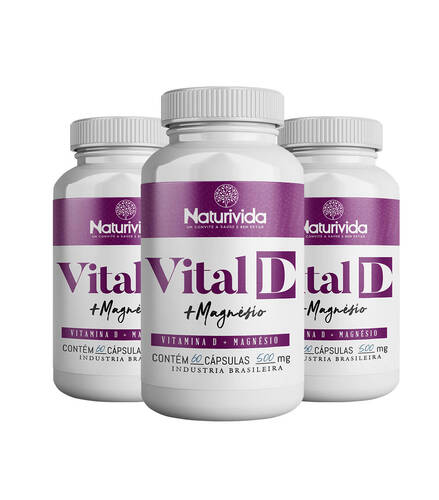 Kit 3 Vital D - Vitamina D + Magnésio - 500mg