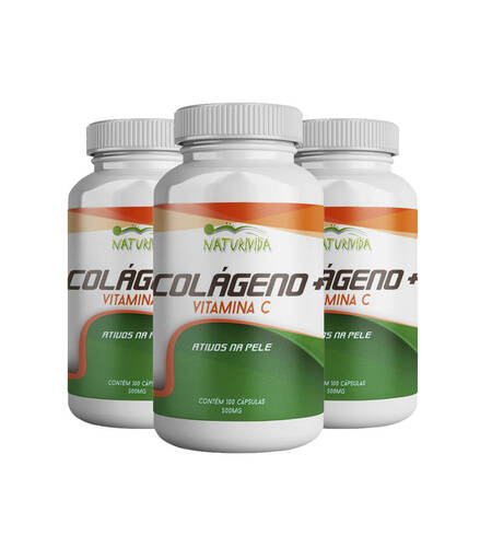 Kit 3 Colágeno + Vitamina C - 500mg