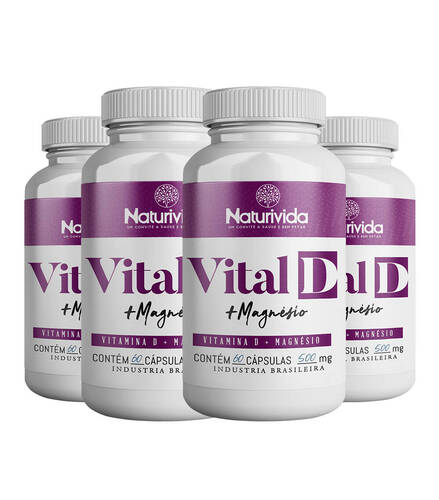 Kit 4 Vital D - Vitamina D + Magnésio - 500mg