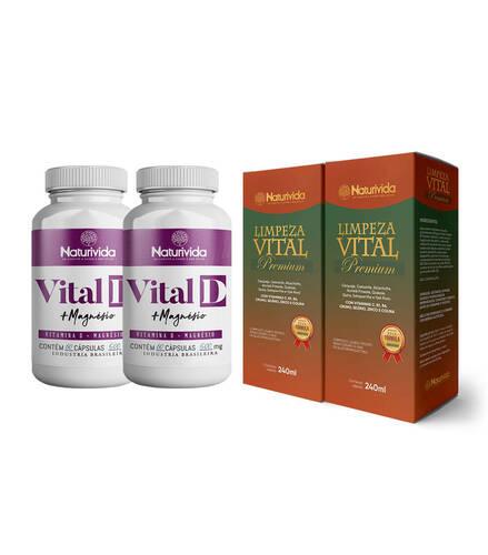 Kit 2 Limpeza Vital Premium e 2 Kit Vital D