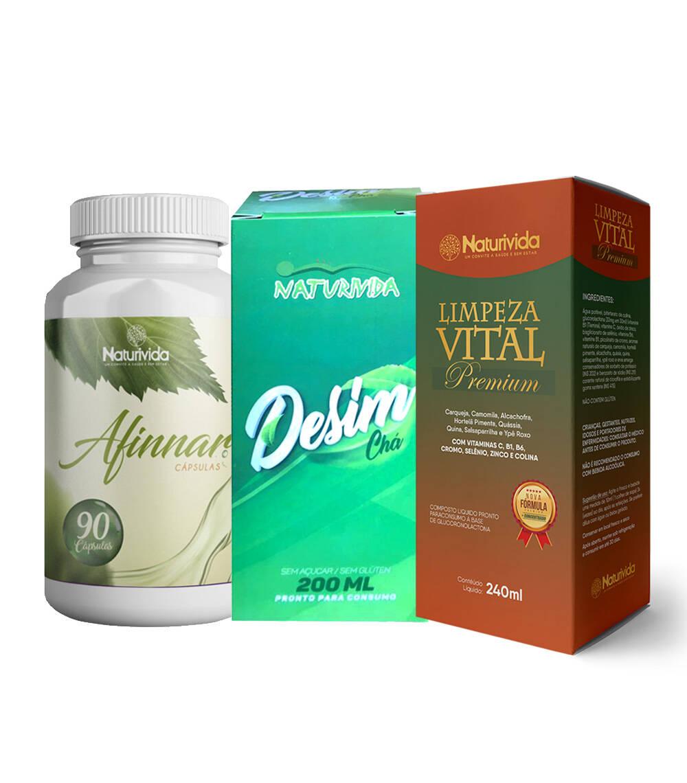 Kit Emagrecimento Total - 1 Limpeza vital Premium - 1 Afinar - 1 Desim (chá)