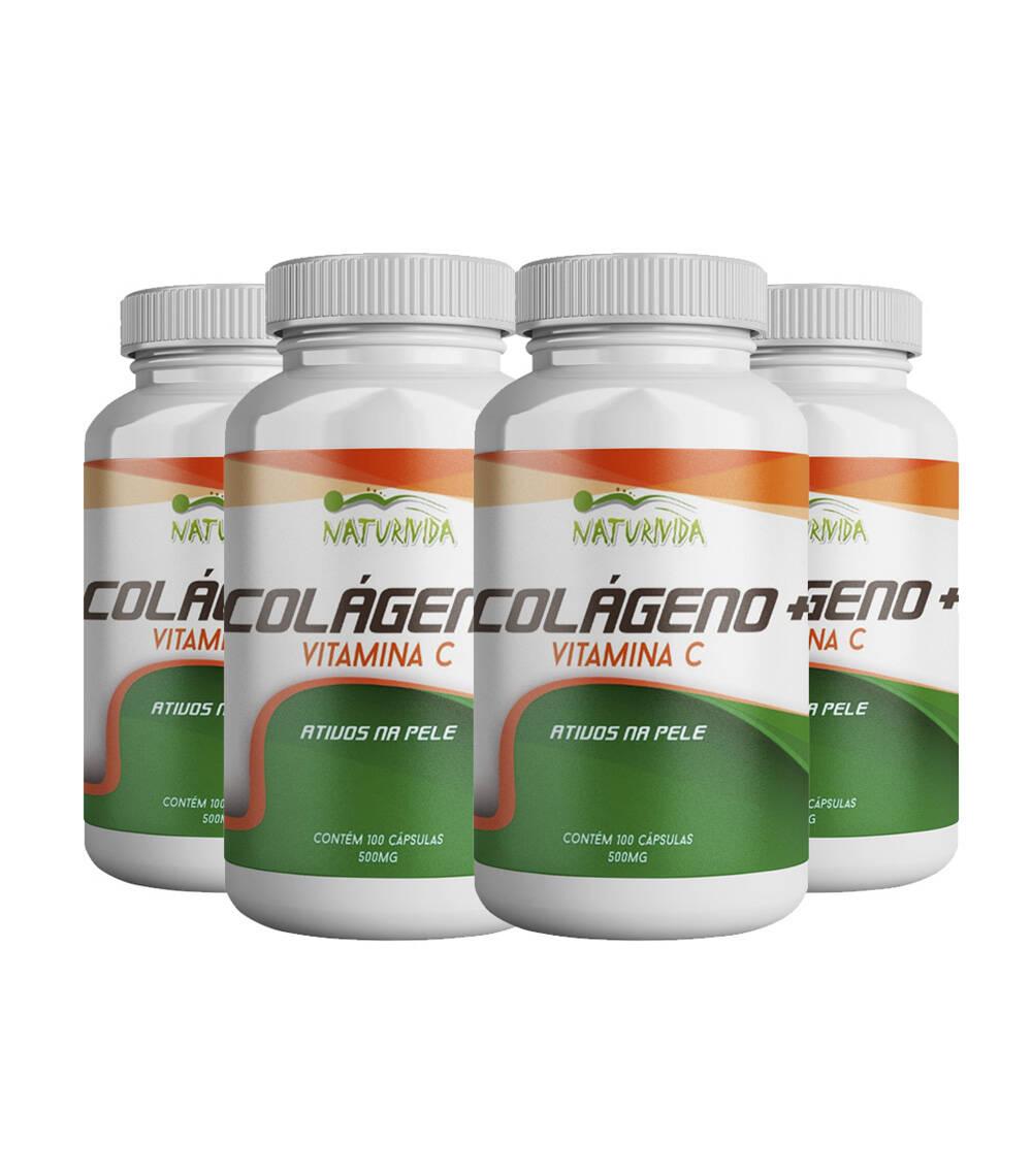 Kit 4 Colágeno + Vitamina C - 500mg