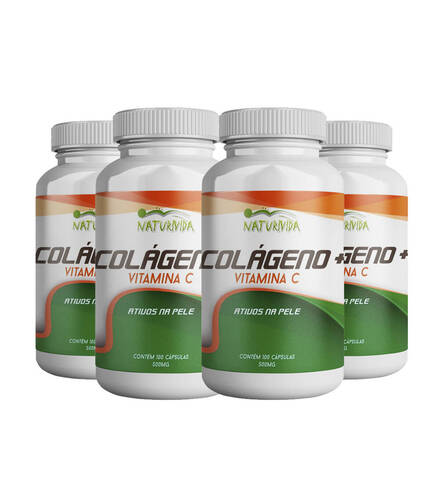 Kit 4 Colágeno + Vitamina C - 500mg