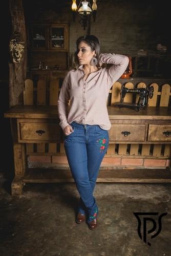 Bombacha Feminina Jeans com Favo Floral