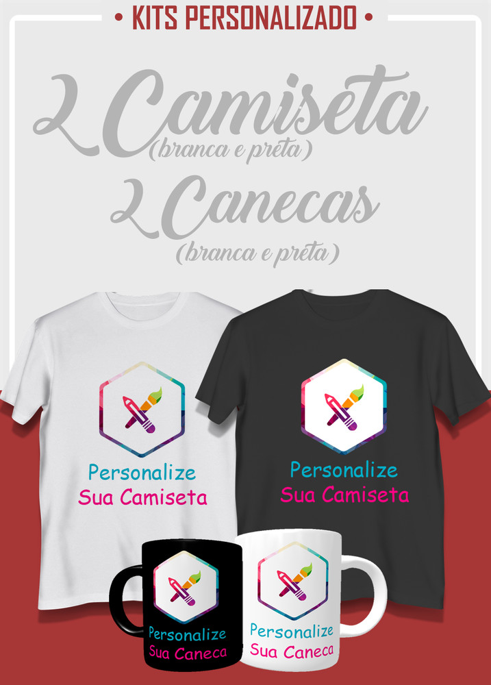 Conjunto 1 caneca ( branca) + 1 caneca (preta) + 1 camiseta (branca) + 1 camiseta (preta)
