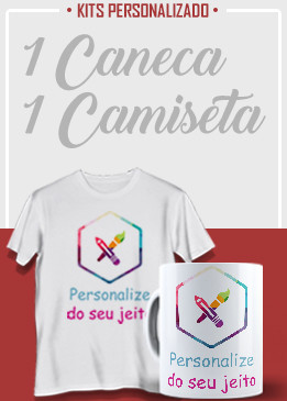 Conjunto 1 caneca (branca) + 1 camiseta (branca)