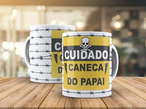 Caneca de Porcelana Personalizada Cuidado caneca do papai