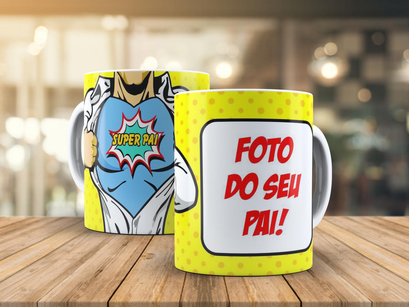 Caneca de Porcelana Personalizada Super pai com foto
