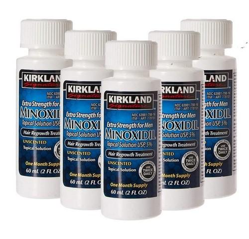 MINOXIDIL KIRKLAND 5% PARA HOMENS, 5 Frascos de 60ml (Suprimento para 5 meses) - (PRONTO ENTREGA)