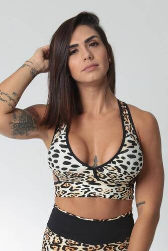 Cropped Fitness Decote V Estampa Animal Print Onça