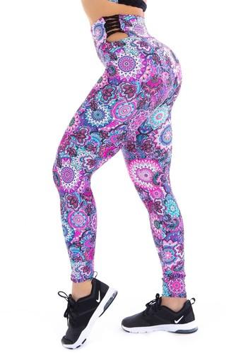 Calça Legging Fitness Tiras Torcidas Cós Estampa Mandalas.