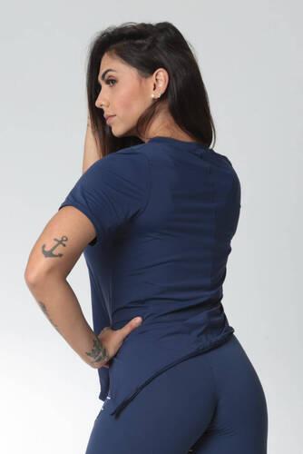 Blusa Assimétrica Abertura Lateral Azul Marinho
