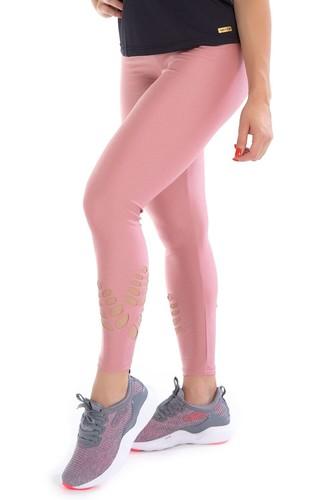 Calça Legging Fitness Corte Laser Cirrê Rose
