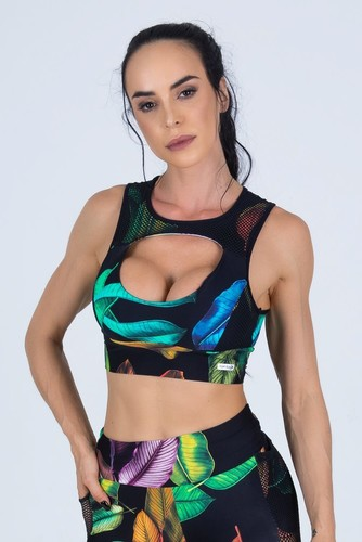 Cropped Fitness Recorte Busto Estampa Digital Folhas