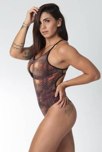 Body Fitness Maiô Textura Animal Print