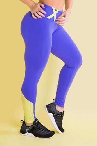 Calça Legging Fitness Detalhe Textura e Cós Anatômico Roxa