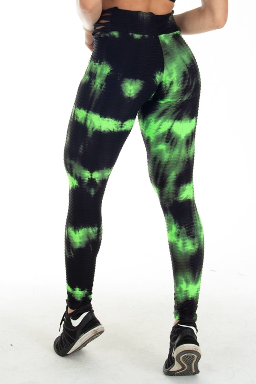 Calça Legging Tiras Laterais Estampa Tie Dye Preta e Verde