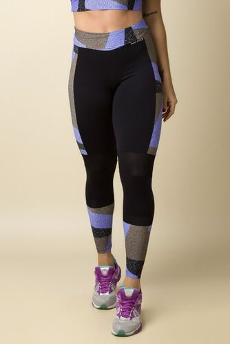 Calça Legging Fitness Recortes Tela Estampa Digital Marmorato