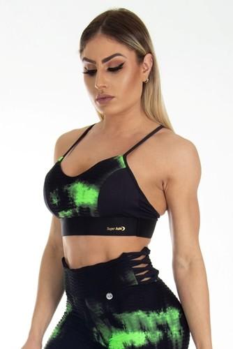 Top Fitness Tie Dye Verde e Preto