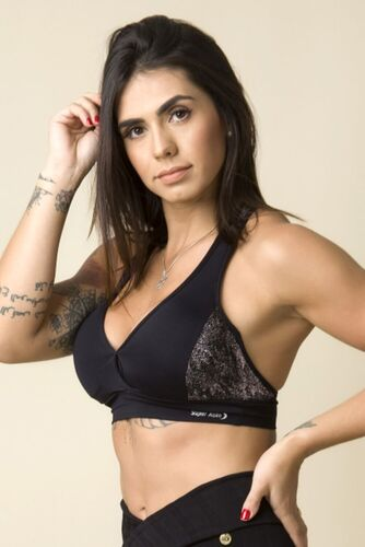Top Fitness Decote V Transpassado Jacquard Degradê Rosê