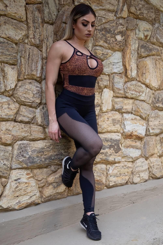 Body Fitness Maiô Estampa Digital Oncinha