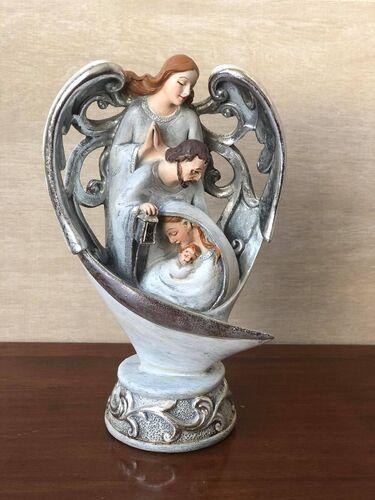 Sagrada Família com Anjo - 20 cm - Resina Importada