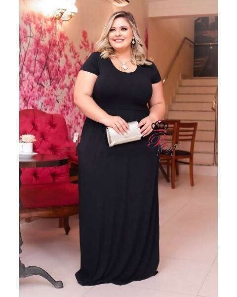 Vestido Longo Cecília Preto Plus Size Moda Evangelica