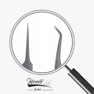 Kit 2 Pinças profissional Menoli Lashes prata