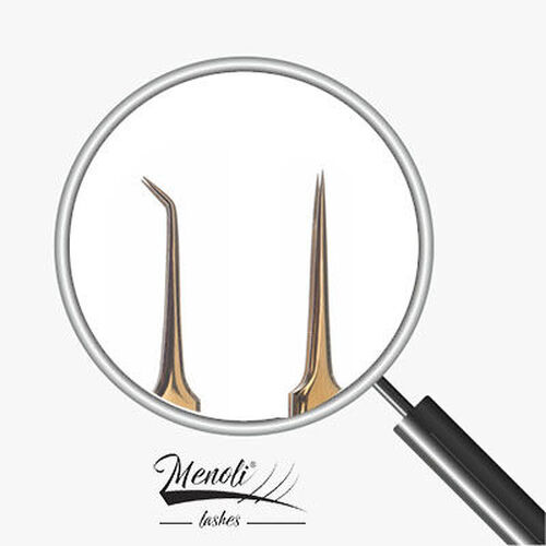 Kit 2 Pinças profissional Menoli Lashes Dourada